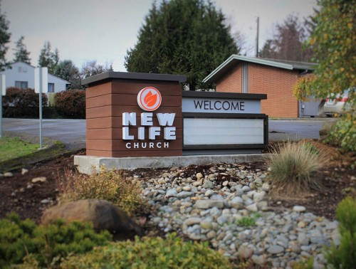 New Life Church monument sign with readerboard