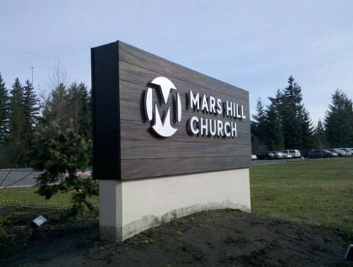 Mars Hill monument sign with mahogany cladding